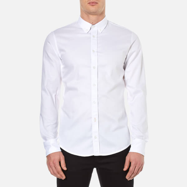 BOSS Orange Men's Edipoe Plain Long Sleeve Shirt - White