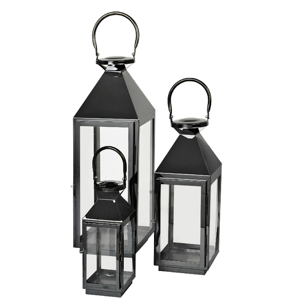 Broste Copenhagen Frit Outdoor and Indoor Lanterns - Black (Set of 3)