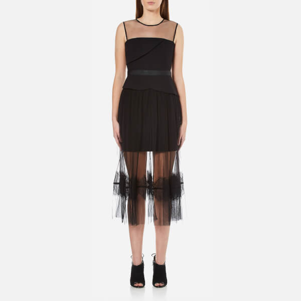 Three Floor Women's Ondine Chiffon and Lace Dress - Black