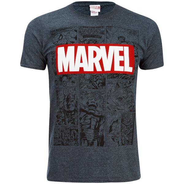 marvel herren mono comic t shirt dunkel grau merchandise. Black Bedroom Furniture Sets. Home Design Ideas