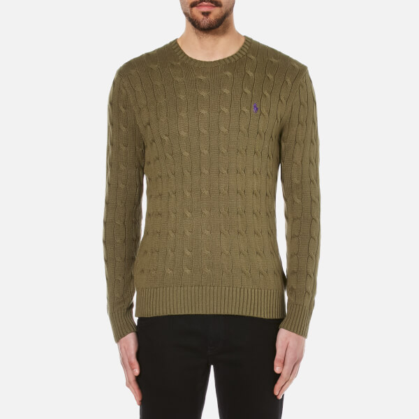 Polo Ralph Lauren Men's Crew Neck Cable Knitted Jumper - New Olive: Image 1
