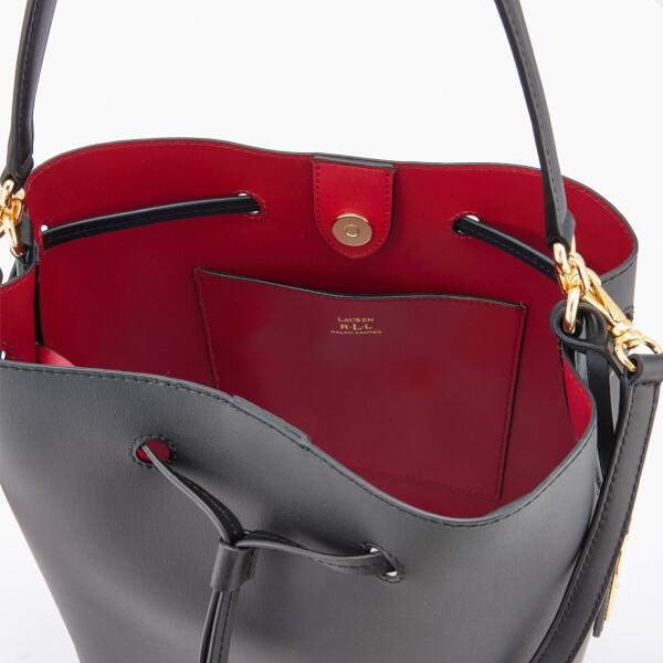 53c68fefee75 Lauren Ralph Lauren Women s Dryden Debby Drawstring Bucket Bag - Black Crimson   Image 5