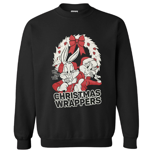 Warner Brothers Men's Bugs Bunny Christmas Sweatshirt - Black