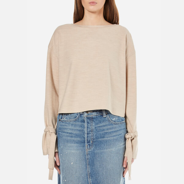 Helmut Lang Women's Long Sleeve Tie Top - Sandstorm Melange