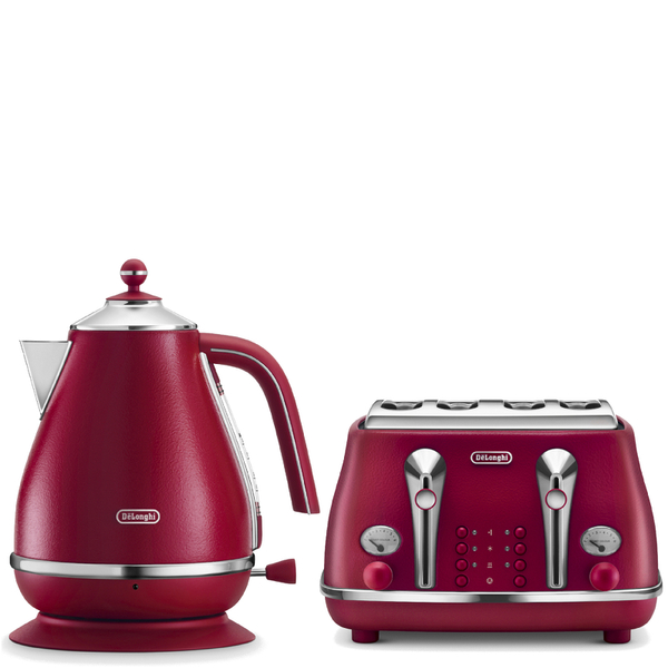 De Longhi Elements Kettle And Four Slice Toaster Red Iwoot