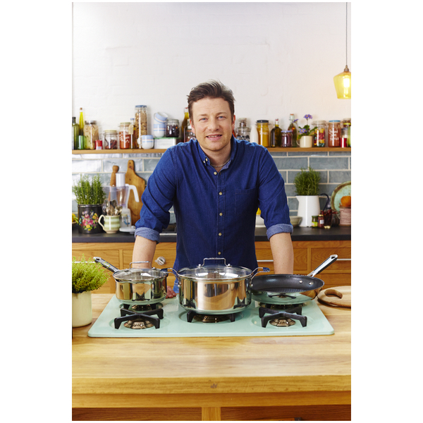 jamie oliver by tefal glass pan lid 28cm homeware zavvi. Black Bedroom Furniture Sets. Home Design Ideas