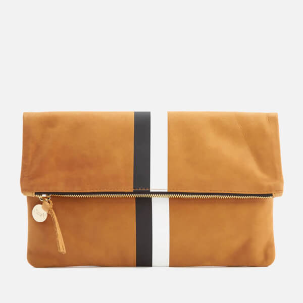 Clare V. Women's Foldover Clutch Bag - Camel Nubuck with Black & White Stripes