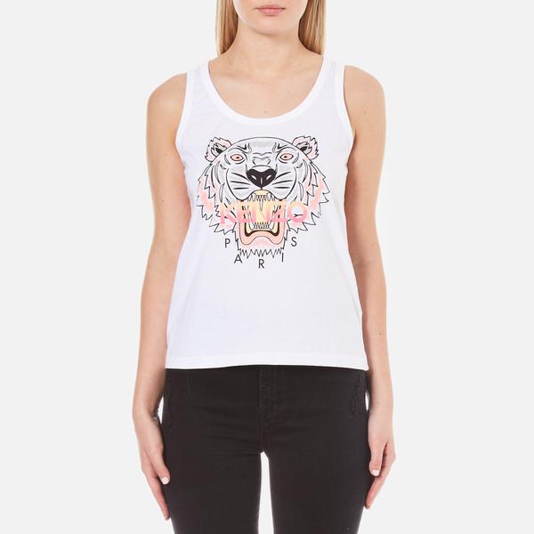 KENZO Women s Printed Tiger On Cotton Tank Top - White - Free UK ... 6162b2eba