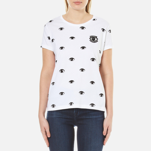Kenzo women 39 s allover eyes printed cotton t shirt white for T shirt printing uk