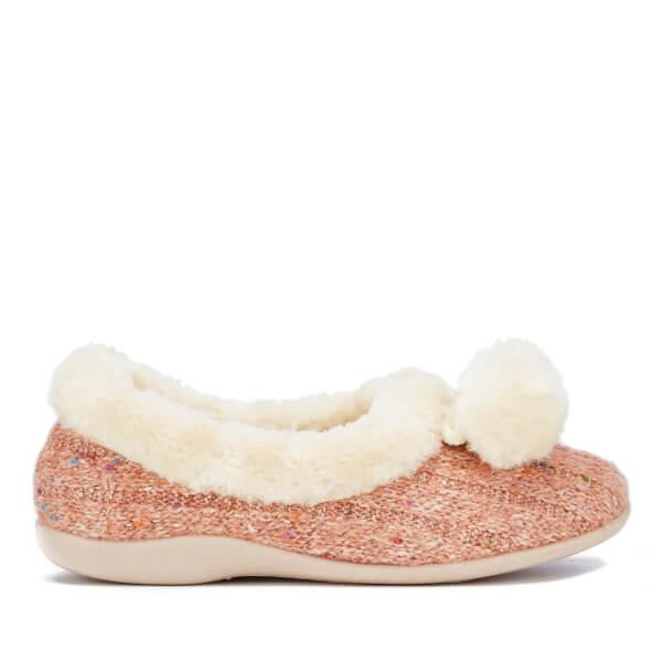Dunlop Women's Alais Double Pom Pom Slippers - Peach