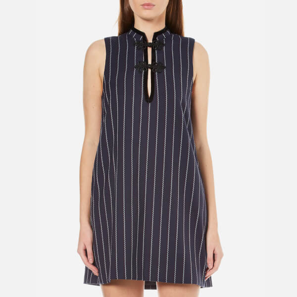 Ganni Women's Oakwood Stripe Dress - Total Eclipse