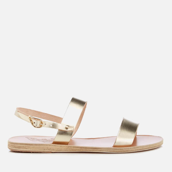 Ancient Greek Sandals Women's Clio Double Strap Vachetta Leather Flat Sandals - Platinum