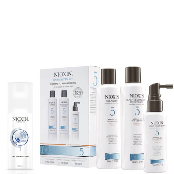NIOXIN Hair System Kit 5 and Thickening Spray Bundle