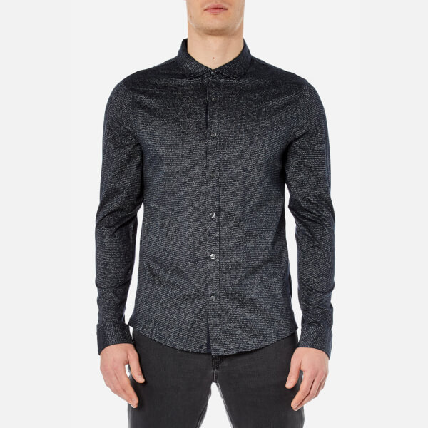 Michael Kors Men's Long Sleeve Button Down Shirt - Midnight