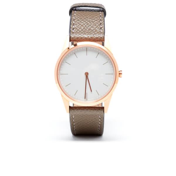 Uniform Wares Women's Grey Textured Calf Leather Watch - Rose Gold