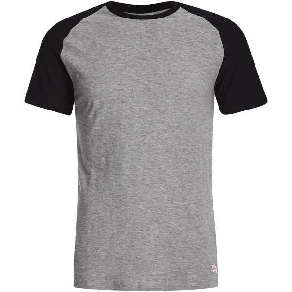 Jack & Jones Men's Originals Stan Raglan T-Shirt - Light Grey/Black