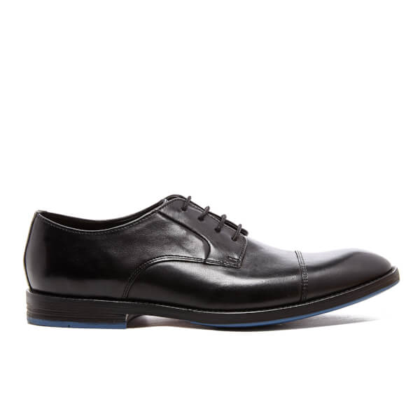 Clarks Men's Prangley Cap Leather Derby Shoes - Black