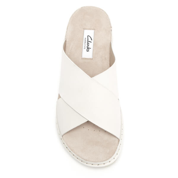 70abdcdc14a7c5 Clarks Women s Alderlake Lily Leather Double Strap Slide Sandals - White   Image 3