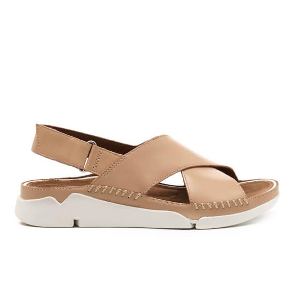 2d9e5b546ed8 Clarks Women s Tri Alexia Leather Cross Front Sandals - Nude  Image 1