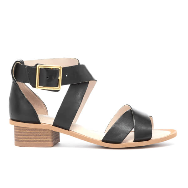 5a8372baf803 Clarks Women s Sandcastle Ray Leather Strappy Sandals - Black  Image 1