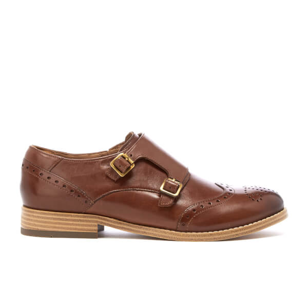 Clarks Women's Zyris Vienna Leather Double Monk Shoes - Dark Tan: Image 1