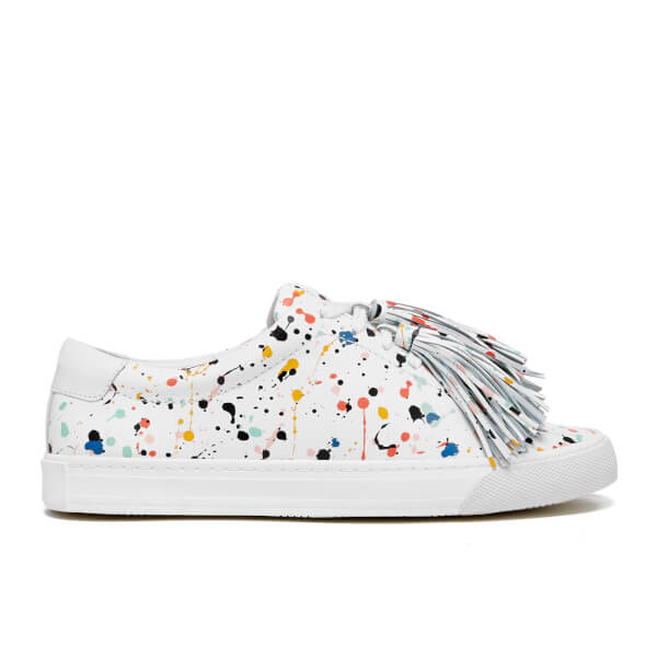 Loeffler Randall Women's Logan Multi Splatter Tassel Trainers - White/Multi