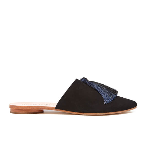 Loeffler Randall Women's Winnie Tassel Suede Mules - Black/Eclipse