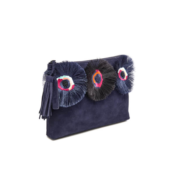 12454bf5dadf Loeffler Randall Women s Floral Embroidered Tassel Pouch Suede Clutch Bag -  Eclipse Multi  Image 3