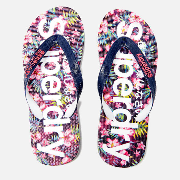 Superdry Women's Flip Flops - Eclipse Navy/Fluro Pink
