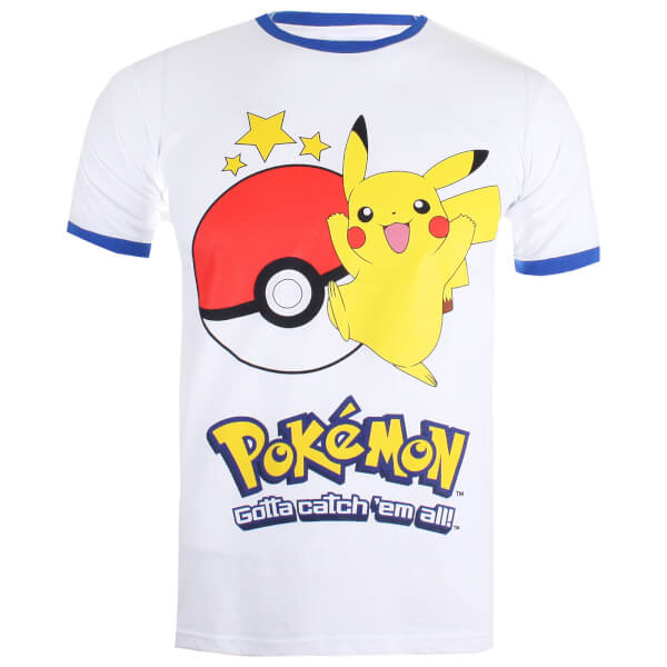 Pokemon Men's Pikachu Ringer T-Shirt - White/Royal