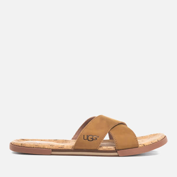 UGG Men's Ithan Cork Double Strap Leather Slide Sandals - Tamarind