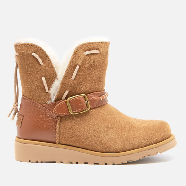 UGG Kids' Tacey Short Buckle Sheepskin Boots - Chestnut