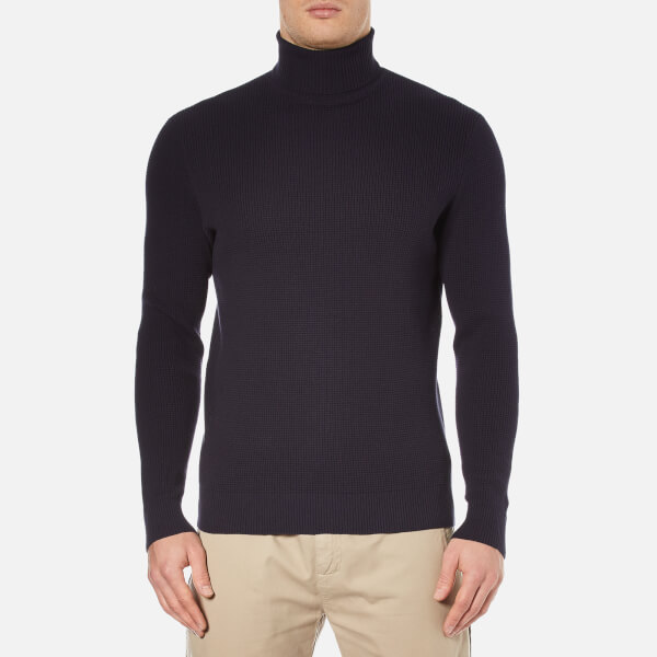 Folk Men's Waffle Roll Neck Jumper - Blue