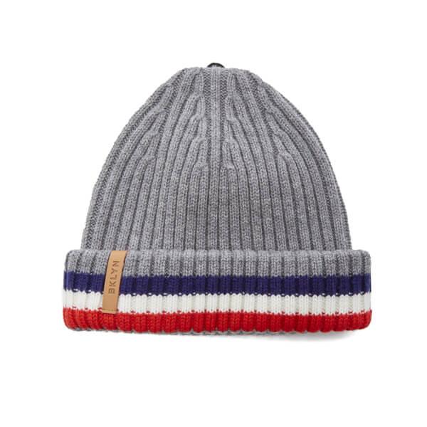 7e6b65f59fb BKLYN Women s Merino Wool Hat with Grey Red Pom Pom - Grey Multi