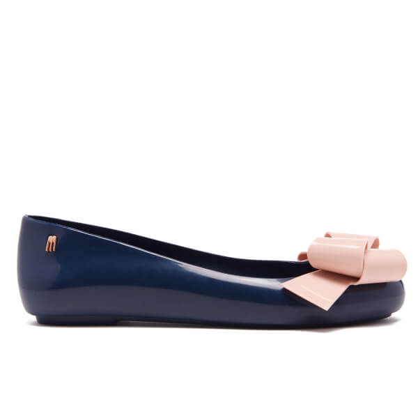 Melissa Women's Space Love Ribbon Bow Ballet Flats - Navy/Nude