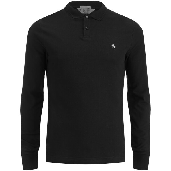 Original Penguin Men's Long Sleeve Polo Shirt - True Black