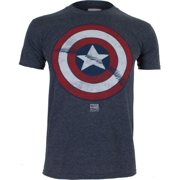 Marvel Boys' Captain America Shield T-Shirt - Heather Navy