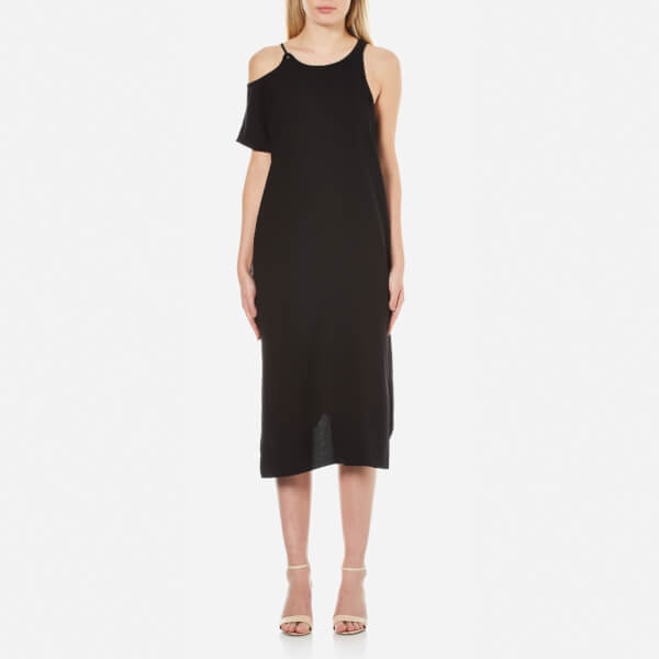 T by Alexander Wang Women's Matte Poly Crepe Eyelet Strap Asymmetrical Dress - Black