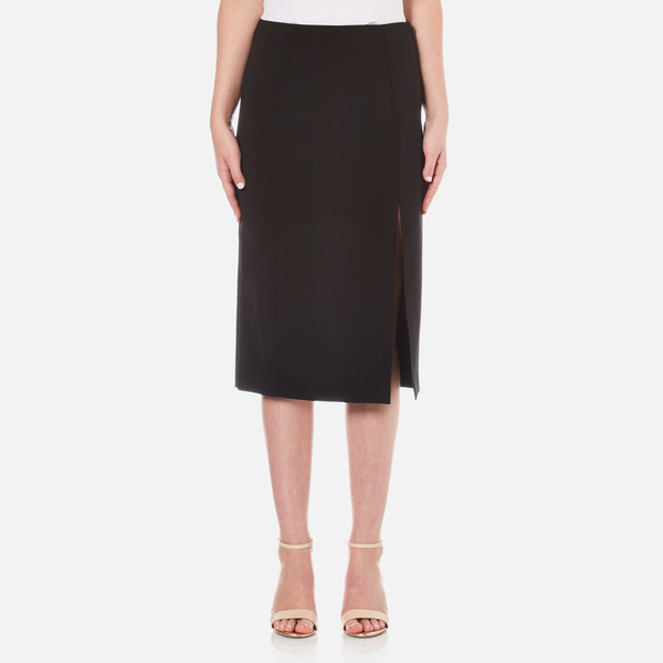 T by Alexander Wang Women's Stretch Poly Twill Slick Pencil Skirt with Slit - Black