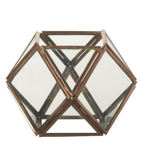 Parlane Ness Glass Terrarium Tealight Holder - Copper (11 x 10.5cm)