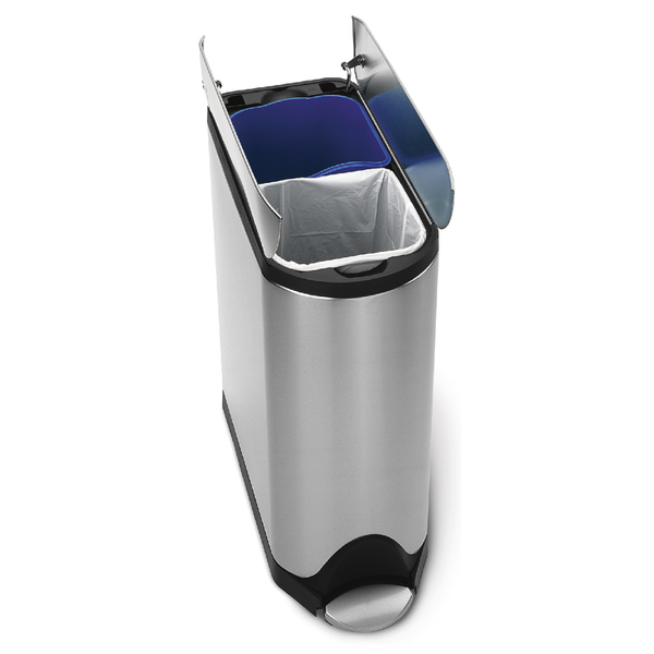 simplehuman Butterfly Brushed Steel Recycler Pedal Bin 40L