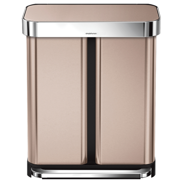 simplehuman dual compartment pedal bin with liner pocket rose gold 58l iwoot. Black Bedroom Furniture Sets. Home Design Ideas