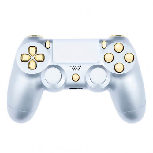 Playstation 4 custom controller gloss silver gold for Housse manette ps4