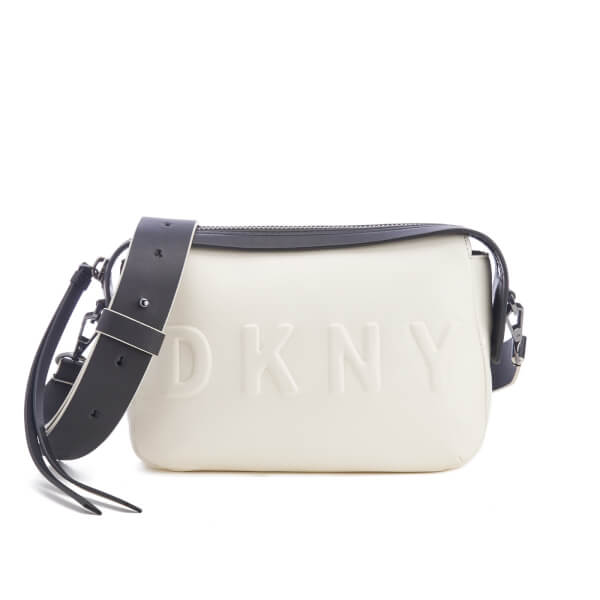 DKNY Women s Debossed Logo Cross Body Bag - Cream  Image 1 a685467055dc4