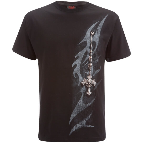 T-Shirt Homme Spiral Tribal Chain -Noir