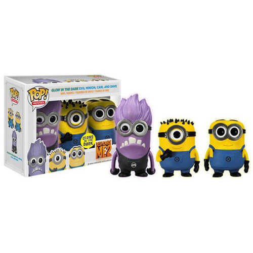 Funko Glow In The Dark Evil Minion, Carl And Dave Pop! Vinyl
