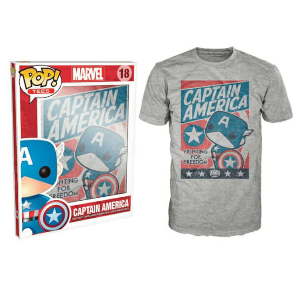 Funko Captain America Pop! Tee Fighting For Freedom Pop! Tees