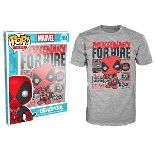 Funko Marvel Deadpool Pop! Tee Mercenary For Hire Pop! Tees
