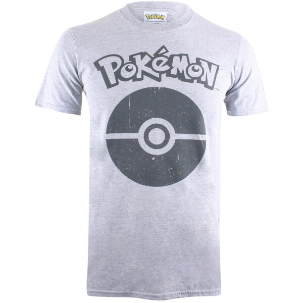 Pokemon Men's Pokeball Symbol T-Shirt - Grey Marl
