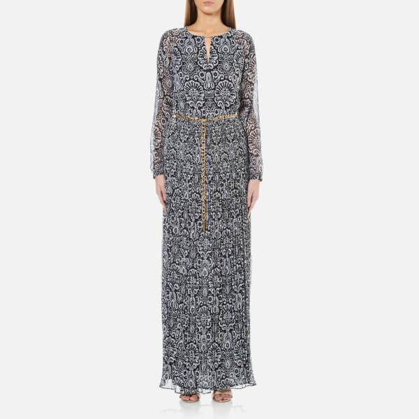 Michael Michael Kors Women S Tapestry Pleat Maxi Dress New Navy